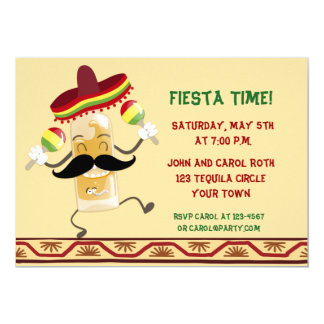 Dancing Tequila Bottle Fiesta 13 Cm X 18 Cm Invitation Card