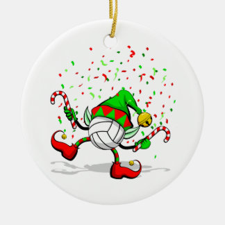 Dancing Volleyball Christmas Elf Round Ceramic Decoration