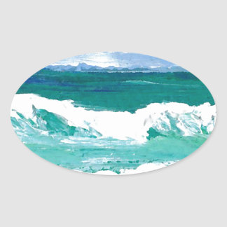 Dancing Waves Ocean Sea Waves Art Gifts Oval Sticker