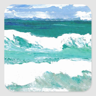 Dancing Waves Ocean Sea Waves Art Gifts Square Sticker