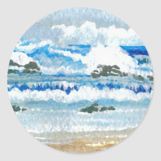 Dancing Waves on the Rocks CricketDiane Ocean A Sticker