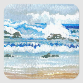 Dancing Waves on the Rocks  CricketDiane Ocean A Square Sticker