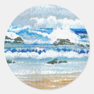 Dancing Waves on the Rocks Ocean Seascape Round Sticker