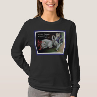 Dancing White Cat with Beckett Quote T-Shirt