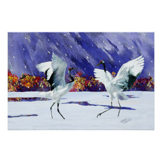Dancing White Cranes Poster
