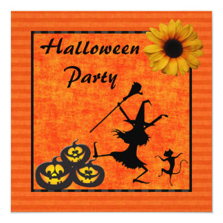 "Dancing Witch & Cat Halloween Party 5.25"" Square Invitation Card"