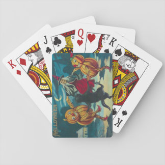 Dancing Witch Jack O' Lantern Monster Black Cat Playing Cards