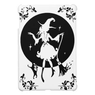 Dancing witch with broom and cat iPad mini covers