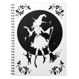Dancing witch with broom and cat notebook