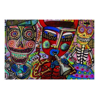 Dancing With Diable Day Of The Dead Skeleton Posters