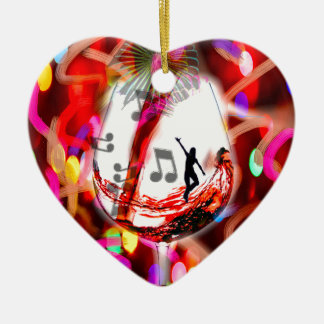 Dancing with music and color ceramic heart decoration