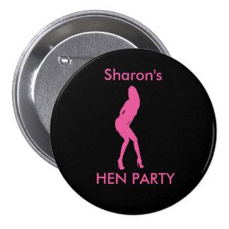 """Dancing Woman"" Hen night badge (pink on black) Button"