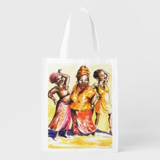 Dancing women reusable grocery bag