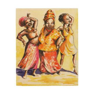 Dancing women wood wall art