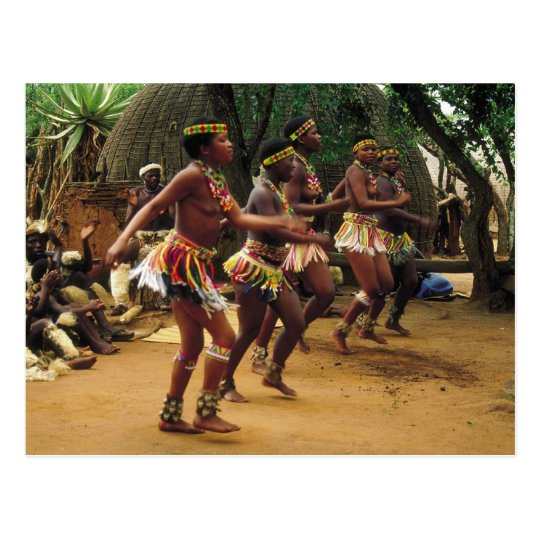 Dancing, Zulu Style - South Africa Postcard