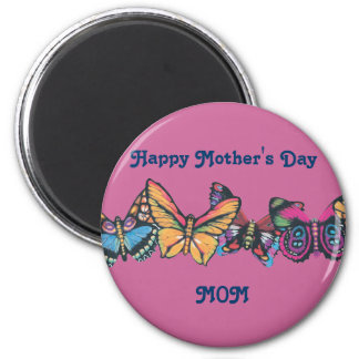 DancingButterlies, Happy Mother's Day MOM 6 Cm Round Magnet