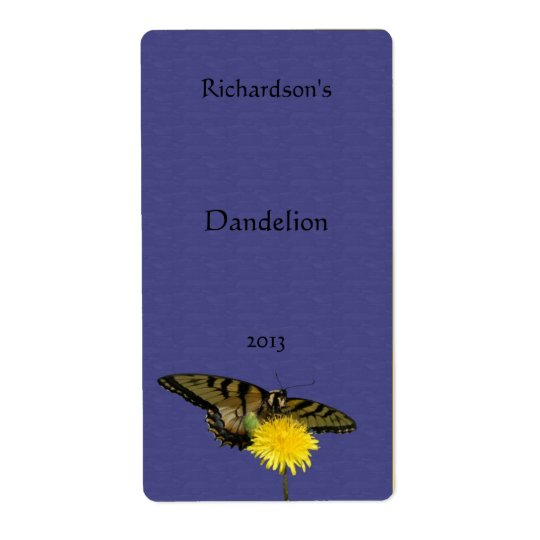 Dandelion and Butterfly Wine Label