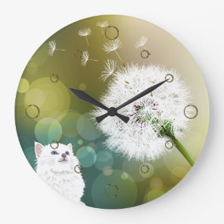 Dandelion and Cat Wall Clock