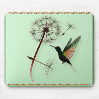Dandelion and Little Green Hummingbird Mousepad