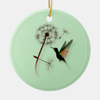 Dandelion and Little Green Hummingbird Ornaments