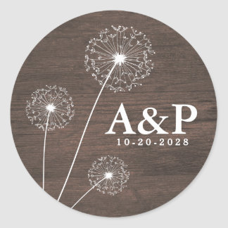 Dandelion Barn Wood Country Rustic Wedding Favors Classic Round Sticker