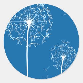 dandelion blue classic round sticker