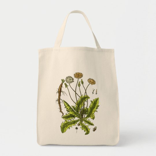 Dandelion Botanical Illustration Tote Bag
