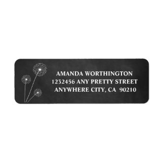 Dandelion Chalkboard Rustic Wedding Address Labels