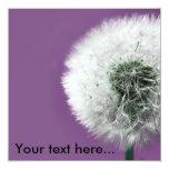 """Dandelion Clock Purple, Ad Your text here... 5.25"""" Square Invitation Card"""