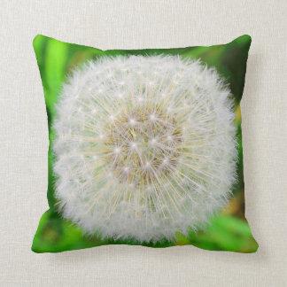 Dandelion Clock throw pillow in greens Throw Cushion