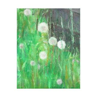 Dandelion Clocks in Grass 2008 oil on canvas Canvas Print