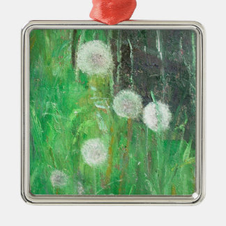 Dandelion Clocks in Grass 2008 oil on canvas Christmas Ornament
