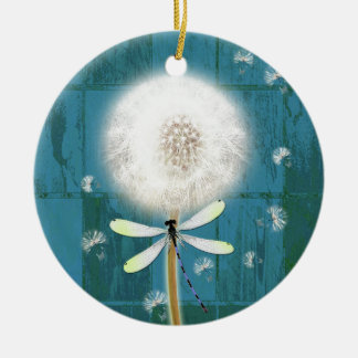 Dandelion dragonfly rustic blue barn wood christmas ornament