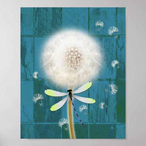 Dandelion dragonfly rustic blue barn wood poster