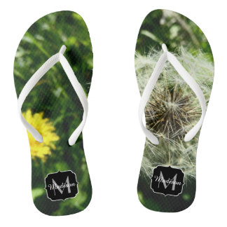 Dandelion flower and seed head Monogram Flip Flops