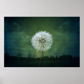 Dandelion Flower Fluff Starry Sky Art Poster