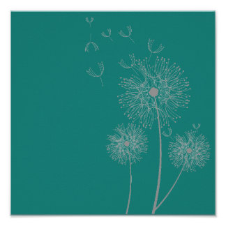 Dandelion flower on teal art poster