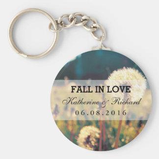 Dandelion Flower Wedding Favor Keepsake Keychain
