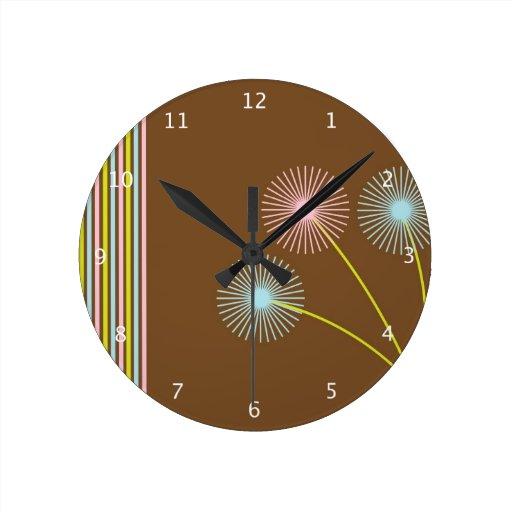 Dandelion Flowers Floral Funky Retro Background Clocks