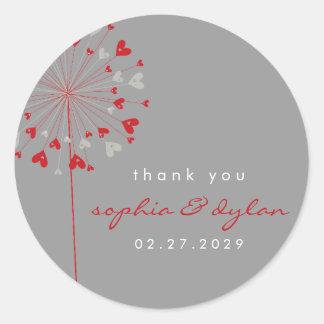 Dandelion Flowers Love Red Hearts Wedding Sticker