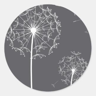 dandelion grey classic round sticker