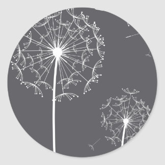 dandelion grey round sticker