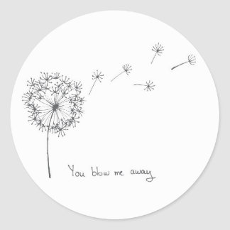 Dandelion hand illustrated funny Valentines card Round Sticker