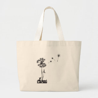 dandelion illustration large tote bag