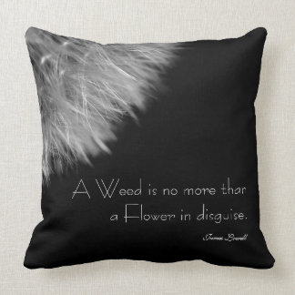 Dandelion in Black & White with Quote Cushion