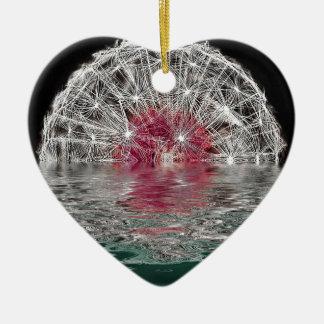Dandelion Moon Ceramic Heart Decoration