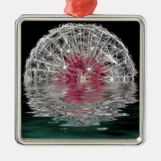 Dandelion Moon Silver-Colored Square Decoration