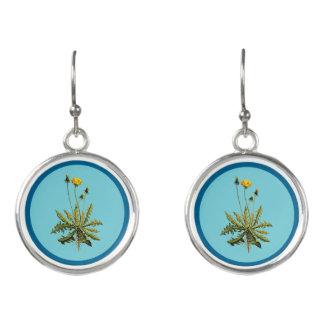 Dandelion On Blue Earrings