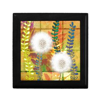 Dandelion orange green flora  foliage dandelions jewelry box
