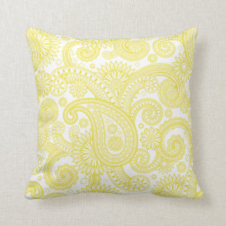 Dandelion Paisley Floral Swirl Throw Pillow